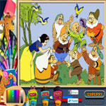 snow-white-with-dwarfs-coloring-page-150x150